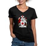 Hurst Family Crest Women's V-Neck Dark T-Shirt