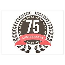 75 Years Anniversary Laurel Badge 5x7 Flat Cards