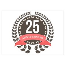 25 Years Anniversary Laurel Badge 5x7 Flat Cards
