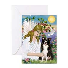 Angel & Border Collie Greeting Card