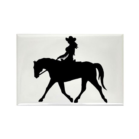 Cute Cowgirl on Horse Rectangle Magnet (10 pack)