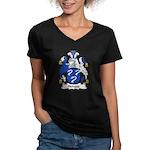 Hedges Family Crest Women's V-Neck Dark T-Shirt