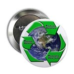 Reduce Reuse Recycle Earth Button