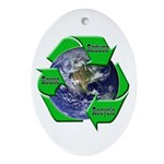 Reduce Reuse Recycle Earth Oval Ornament