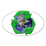 Reduce Reuse Recycle Earth Oval Sticker