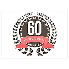 60 Years Anniversary Laurel Badge 5x7 Flat Cards