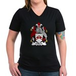 Gilbert Family Crest Women's V-Neck Dark T-Shirt