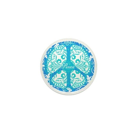 funky peace sign Mini Button