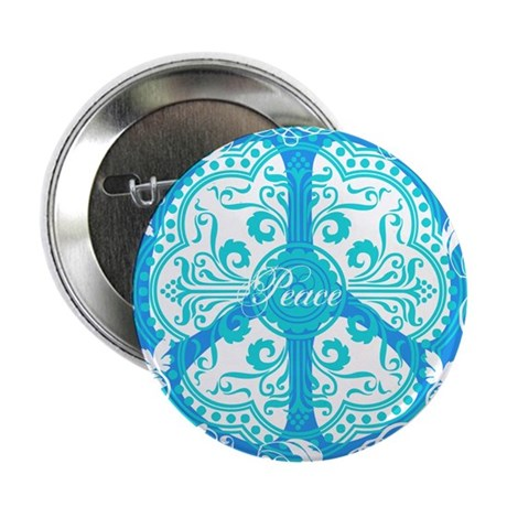 funky peace sign Button