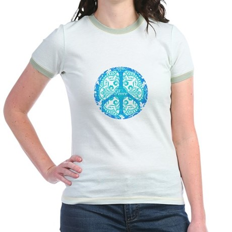 funky peace sign Jr. Ringer T-Shirt