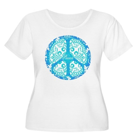 Blue Funky Peace Sign Women's Plus Size Scoop Neck