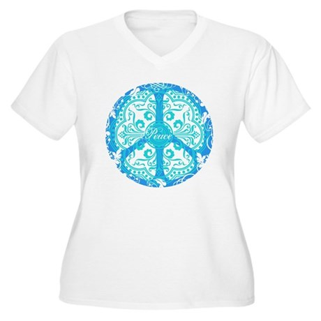 Blue Funky Peace Sign Women's Plus Size V-Neck T-S
