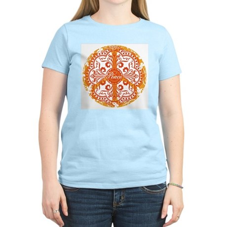 Orange Funky Peace Sign Women's Light T-Shirt