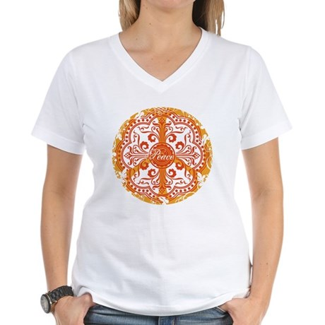 Orange Funky Peace Sign Women's V-Neck T-Shirt