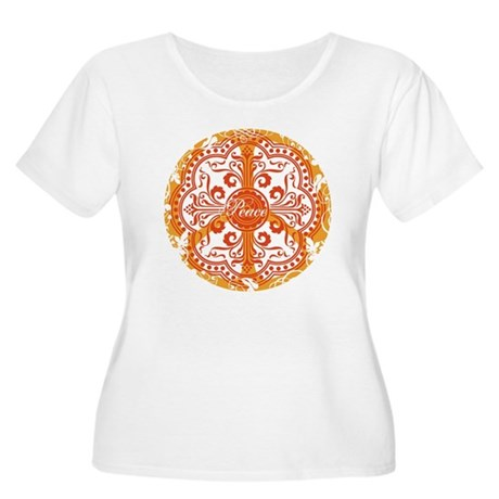 Orange Funky Peace Sign Women's Plus Size Scoop Ne