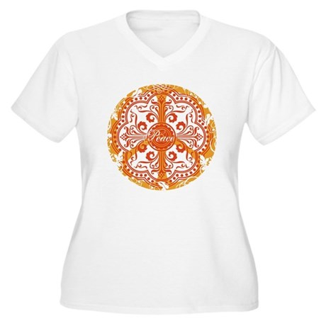 Orange Funky Peace Sign Women's Plus Size V-Neck T