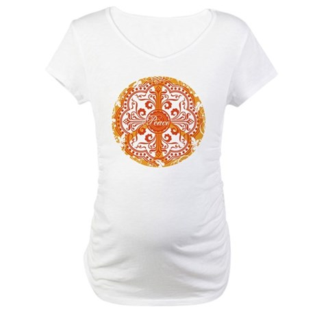 Orange Funky Peace Sign Maternity T-Shirt