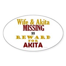 Wife & Akita Missing Oval Decal