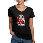 Fry Family Crest  Women's V-Neck Dark T-Shirt