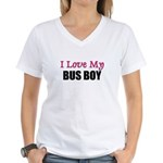 I Love My BUS BOY Women's V-Neck T-Shirt