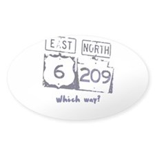 "Vintage Demin Wash ""Which way?"" Oval Decal"