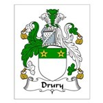 Drury Family Crest  Small Poster