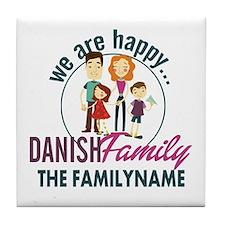 Personalized Happy Danish Family Tile Coaster