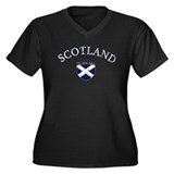 Scotland Soccer Women's Plus Size V-Neck Dark T-Sh