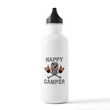 Happy Camper-skull-1-GREY Water Bottle