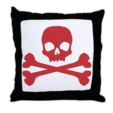 Skull Crossbones Red Throw Pillow