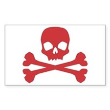 Skull Crossbones Red Rectangle Decal