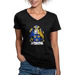 Burrows Family Crest Women's V-Neck Dark T-Shirt