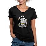 Bristow Family Crest  Women's V-Neck Dark T-Shirt