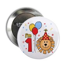 "Cool Lion Face First Birthday 2.25"" Button (100 pa"