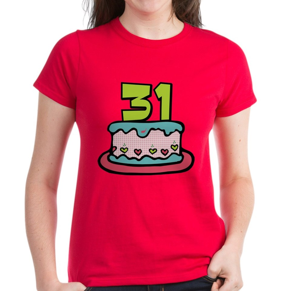 31 Year Old Birthday Cake Womens Dark T Shirt
