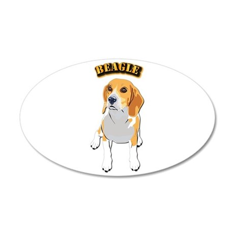 Beagle Dog with Text 35x21 Oval Wall Decal