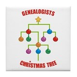Genealogists Christmas Tree Tile Coaster