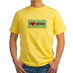 I LOVE TATTOOS Yellow T-Shirt