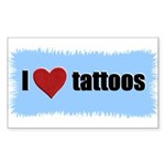 I LOVE TATTOOS Rectangle Sticker