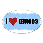 I LOVE TATTOOS Oval Sticker
