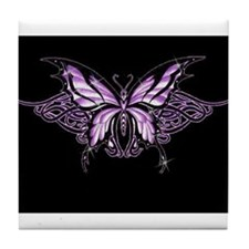 Purple Tribal Butterfly Tile Coaster