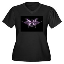 Purple Tribal Butterfly Women's Plus Size V-Neck D