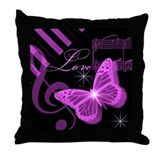 Musical Butterfly Throw Pillow