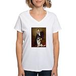 Lincoln's German Shepherd Women's V-Neck T-Shirt