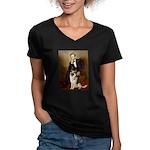 Lincoln's German Shepherd Women's V-Neck Dark T-Sh