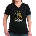 Birket Family Crest Women's V-Neck Dark T-Shirt