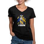 Bingham Family Crest Women's V-Neck Dark T-Shirt