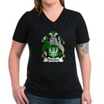 Biddulph Family Crest Women's V-Neck Dark T-Shirt
