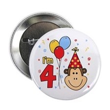 """Monkey Face 4th Birthday 2.25"""" Button (100 pack)"""