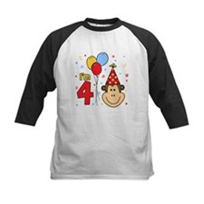 Monkey Face 4th Birthday Tee